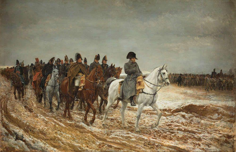 Ernest Meissonier, Der Frankreichfeldzug 1814 [Campagne de France, 1814], 1864, Öl auf Holz, 51,5 x 76,5 cm (Musée d'Orsay, Paris, RF 1862)