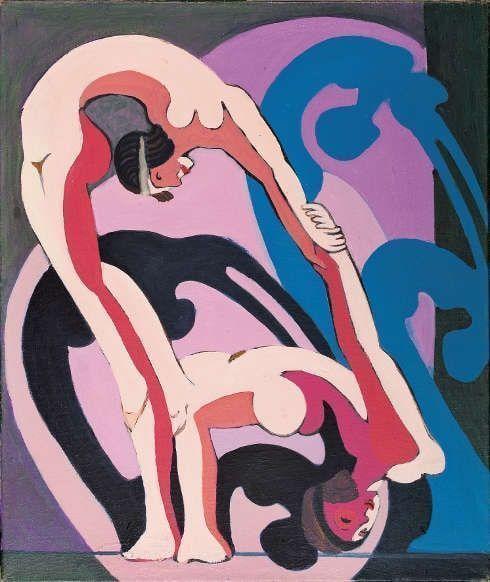 Ernst Ludwig Kirchner, Akrobatenpaar. Zwei Akrobatinnen, 1932–1933, Öl/Lw, 85,5 x 72 cm (Kirchner Museum Davos © Kirchner Museum Davos, Jakob Jägli)