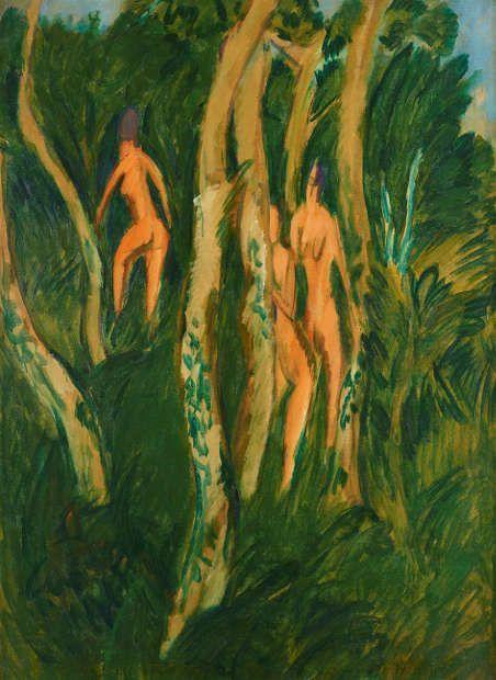 Ernst Ludwig Kirchner, Akte im Strandwald, 1913, Öl auf Leinwand, 124 x 90 cm (Kulturstiftung Sachsen-Anhalt, Kunstmuseum Moritzburg Halle (Saale) © Foto: Punctum/Bertram Kober)