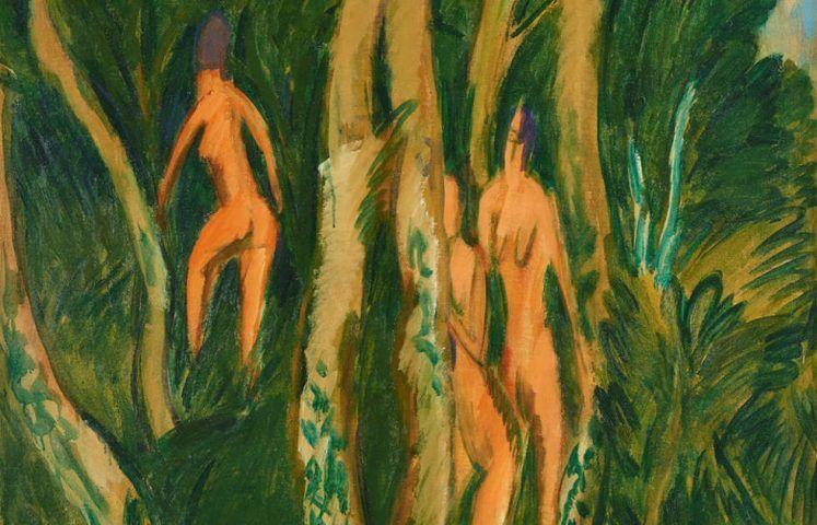 Ernst Ludwig Kirchner, Akte im Strandwald, Detail, 1913, Öl auf Leinwand, 124 x 90 cm (Kulturstiftung Sachsen-Anhalt, Kunstmuseum Moritzburg Halle (Saale) © Foto: Punctum/Bertram Kober)