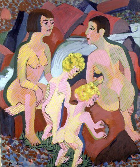 Ernst Ludwig Kirchner, Badende Frauen und Kinder, 1925/32, Öl auf Leinwand, 130 x 110 cm (© Galerie Henze & Ketterer & Triebold, Riehen/Basel, Galerie Henze & Ketterer, Wichtrach/Bern)