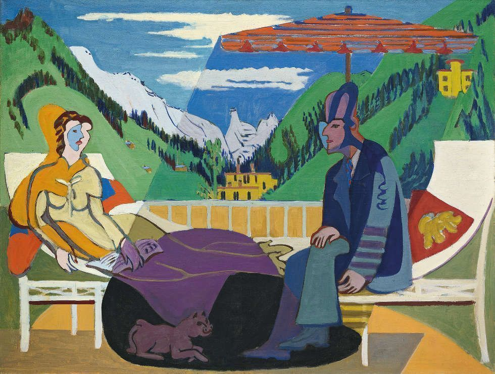 Ernst Ludwig Kirchner, Balkonszene, 1935, Öl/Lw, 135 x 177 cm (© Kirchner Museum Davos, Foto: Kirchner Museum Davos, Jakob Jägli)