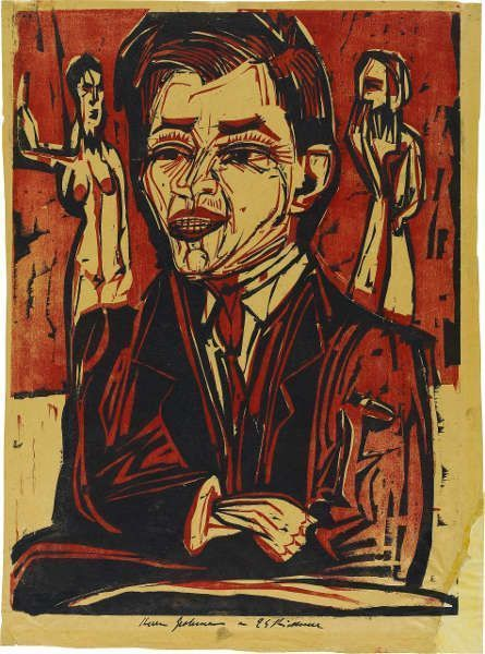 Ernst Ludwig Kirchner, Brustbild Grohmann, 1924, Farbholzschnitt in Schwarz und Rot auf elfenbeinfarbenem Transparentpapier (Staatsgalerie Stuttgart, Graphische Sammlung)