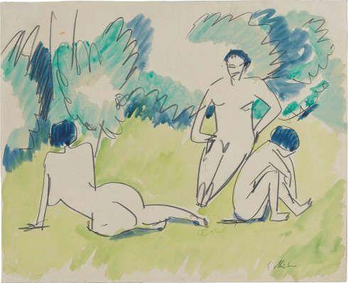 Ernst Ludwig Kirchner, Drei Akte im Grünen, 1911, Bleistift und Aquarell auf elfenbeinfarbenem Papier (Staatsgalerie Stuttgart, Graphische Sammlung)