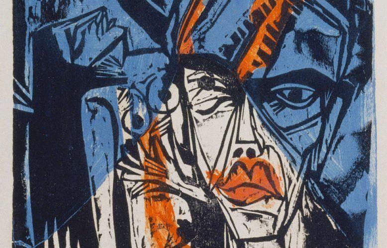 Ernst Ludwig Kirchner, Kämpfe, aus: Peter Schlemihl von Adelbert von Chamisso, Detail, 1915, Farbholzschnitt, 57,1 x 41,8 cm (Städel Museum Frankfurt a.M., Graphische Sammlung © Städel Museum – ARTOTHEK)