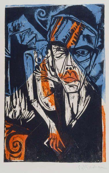 Ernst Ludwig Kirchner, Kämpfe, aus: Peter Schlemihl von Adelbert von Chamisso, 1915, Farbholzschnitt, 57,1 x 41,8 cm (Städel Museum Frankfurt a.M., Graphische Sammlung © Städel Museum – ARTOTHEK)