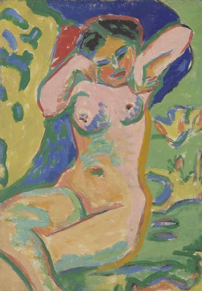 Ernst Ludwig Kirchner, Mädchenakt auf blühender Wiese, 1909, Öl und Leimfarbe auf Leinwand, 89,5 x 63 cm (Buchheim Museum der Phantasie, Bernried am Starnberger See, Foto: Nikolaus Streglich, Starnberg)
