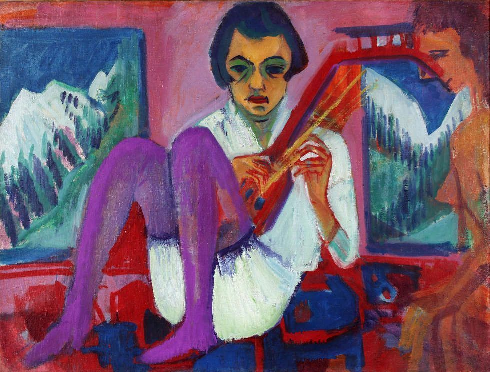 Ernst Ludwig Kirchner, Mandolinistin, 1921, Öl/Lw, 90 x 120 cm (© Kirchner Museum Davos, Foto: Kirchner Museum Davos, Jakob Jägli)