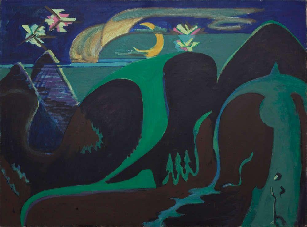 Ernst Ludwig Kirchner, Nächtliche Phantasielandschaft in Grün und Schwarz, 1930–1932, Öl/Lw, 110 x 150 cm (courtesy Gallery Dickinson, London)