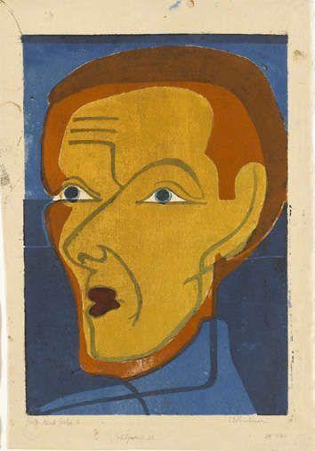 Ernst Ludwig Kirchner, Selbstbildnis, 1932, Farbholzschnitt in Schwarz, Blau, Rot, Rotbraun und Ocker auf elfenbeinfarbenem Japanpapier (Staatsgalerie Stuttgart, Graphische Sammlung)