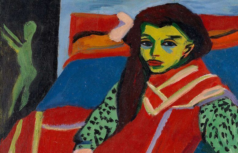 Ernst Ludwig Kirchner, Sitzendes Mädchen (Fränzi Fehrmann), Detail, 1910-1920, Öl-Lw, 80,6 x 91,1 cm (Minneapolis Institute of Arts)