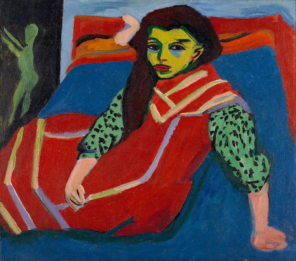 Ernst Ludwig Kirchner, Sitzendes Mädchen (Fränzi Fehrmann), 1910-1920, Öl-Lw, 80,6 x 91,1 cm (Minneapolis Institute of Arts)