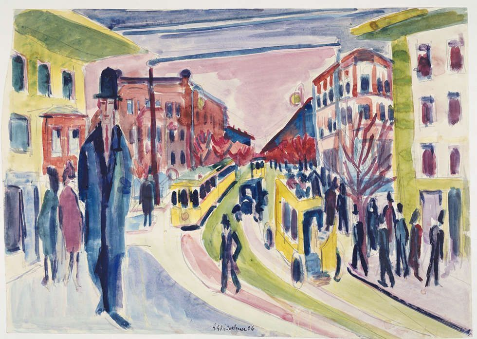 Ernst Ludwig Kirchner, Straßenszene, 1926, Aquarell, 37 x 52 cm (Brücke-Museum Berlin)