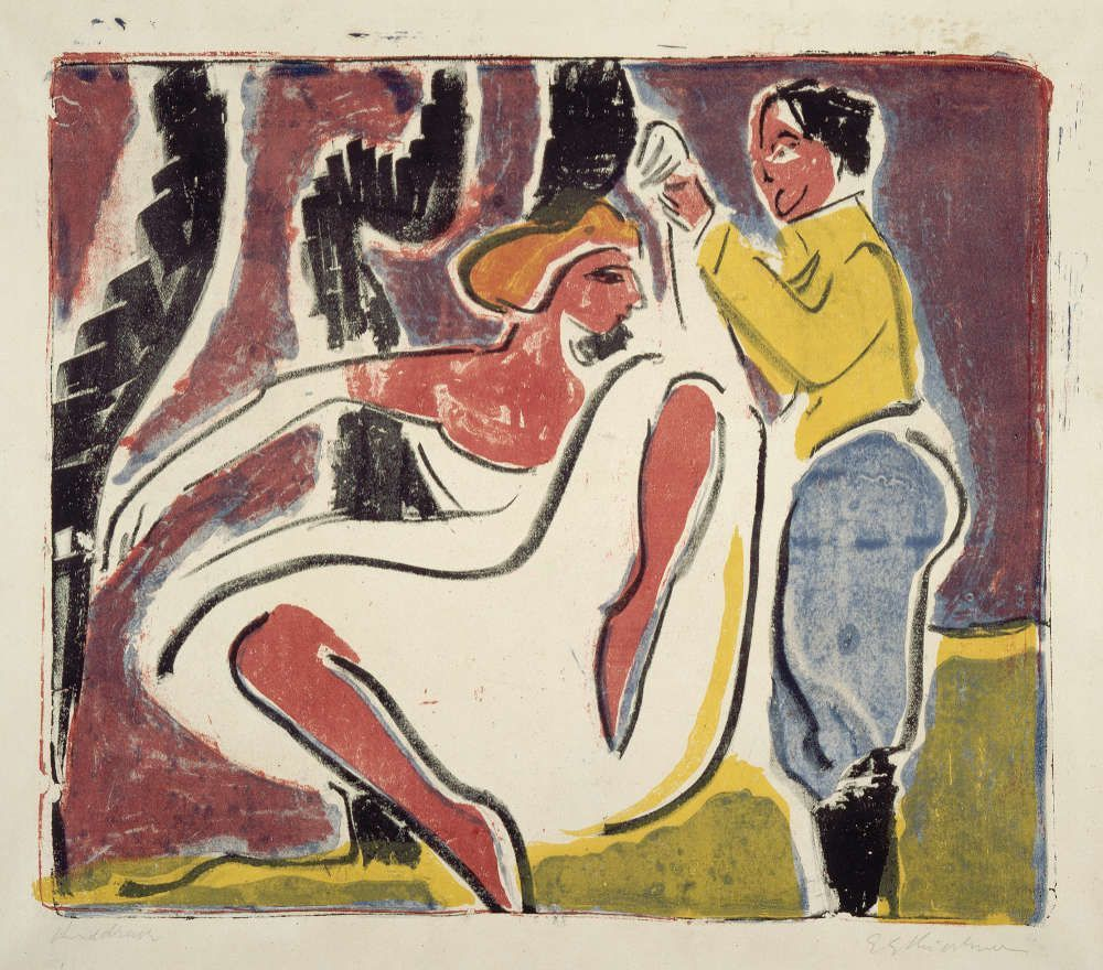 Ernst Ludwig Kirchner, Russisches Tänzerpaar, 1909, farbige Lithografie, 33,2 x 39 cm, sign. u. r.: E L Kirchner bez. u. l.: Handdruck (Sammlung E.W.K., ELK 188 © Foto: Sammlung E.W.K.)