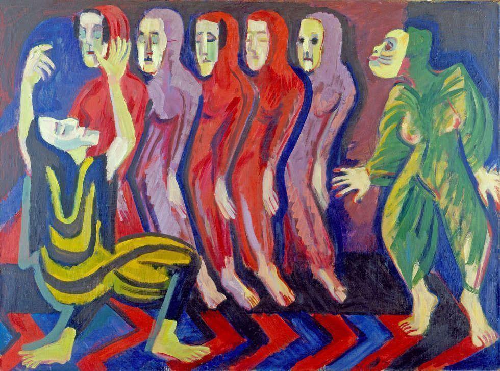 Ernst Ludwig Kirchner, Totentanz der Mary Wigman, 1926/1928, Öl auf Leinwand, 110 x 149 cm (Galerie Henze & Ketterer, Wichtrach/Bern, Foto: Galerie Henze & Ketterer, Wichtrach/Bern)
