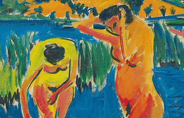 Ernst Ludwig Kirchner, Vier Badende, Detail, 1909/10 (Von der Heydt-Museum, Wuppertal)