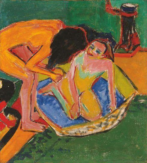 Ernst Ludwig Kirchner, Zwei Akte mit Badetub und Ofen, 1911 (Frieder Burda, Baden-Baden)
