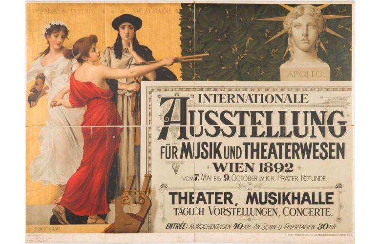 Plakat für die Internationale Ausstellung für Musik und Theaterwesen, 1892; Entwurf Ernst und Gustav Klimt (© MAK, Tibor Rauch)