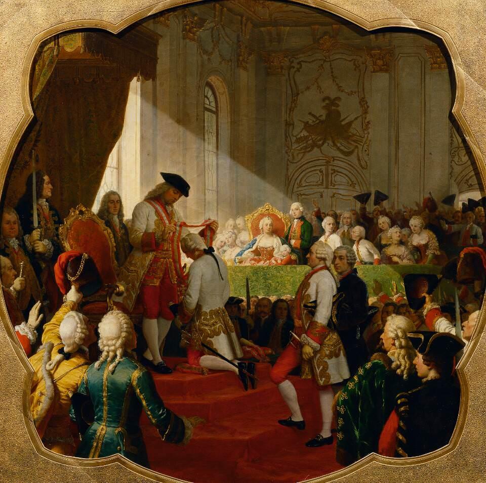 Carl von Blaas, Erste Verleihung des Militär-Maria-Theresien-Ordens durch Kaiser Franz I. Stephan am 7. März 1758 © Belvedere