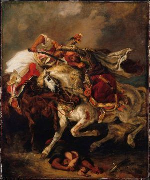 Eugène Delacroix, Kampf zwischen Giaour und Hassan / Combat of the Giaour and Hassan, 1835, Öl auf Leinwand / Oil on canvas, 73.7 x 61 cm, Petit Palais, Musée des Beaux-Arts de la Ville de Paris (PDUT 01162) © Roger-Viollet / REX.