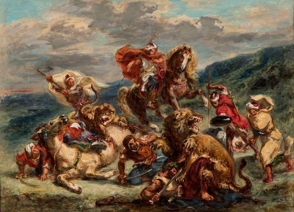 Eugène Delacroix (und Atelier [wohl Pierre Andrieu]), Löwenjagd [Chasse aux lions], um 1861, Öl/Lw, 34,5 x 47 cm (Kunstmuseum St. Gallen, Vermächtnis Emma Lina Hendel, 1999)