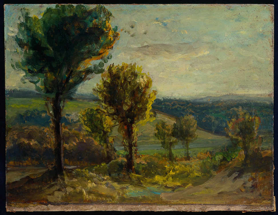 Eugène Delacroix, Landschaft bei Champrosay, 1850s, Öl auf Karton, 25 × 34 cm (Privatsammlung, on extended loan to the Musée d'art et d'histoire, Meudon (D.2012-9-1) © Photo Thierry Normand)