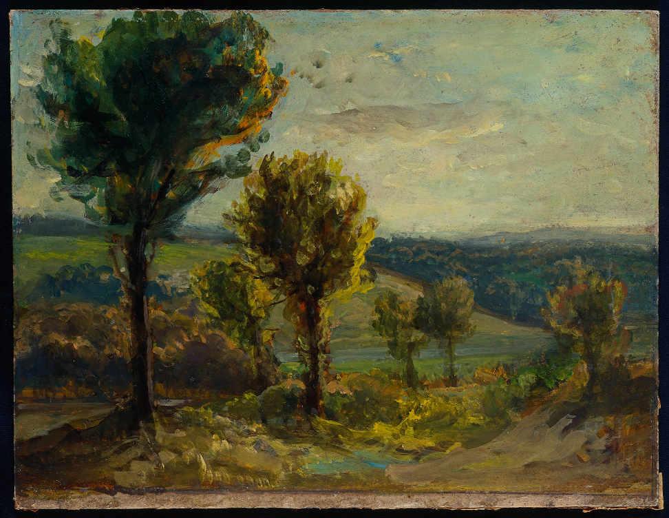 Eugène Delacroix, Landschaft bei Champrosay, 1850s, Öl auf Karton, 25 × 34 cm (Privatsammlung, on extended loan to the Musée d'art et d'histoire, Meudon (D.2012-9-1) © Photo Thierry Normand)