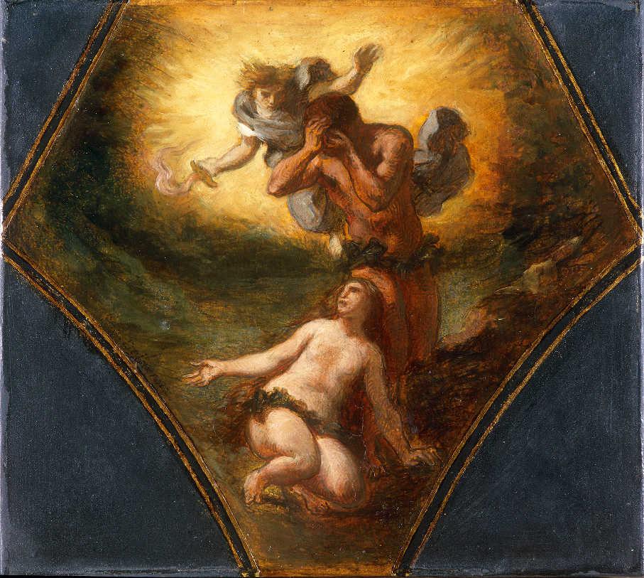 Eugène Delacroix, Vertreibung aus dem Paradies, 1844, Öl/Papier, 24.1 x 25.4 cm (Musée des Beaux-Arts de Dijon (DG 571) © Musée des Beaux-Arts de Dijon. Photo Michel Bourquin)