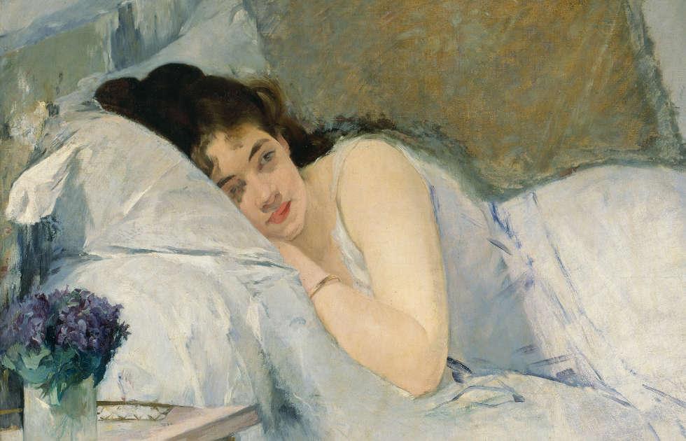 Eva Gonzalès, Erwachendes Mädchen, Detail, um 1877/78, 81,1 x 100,1 cm (Kunsthalle Bremen – Der Kunstverein in Bremen)