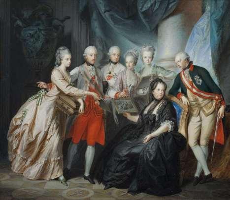 Friedrich Heinrich Füger, Kaiserin Maria Theresia im Kreise ihrer Kinder, 1776, Tempera auf Pergament 34,2 x 39 cm Rahmenmaße: 48 x 53 x 6 cm © Belvedere, Wien