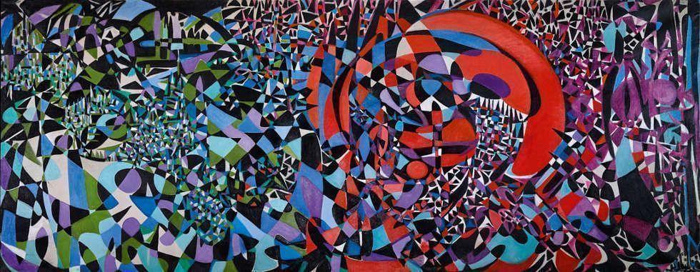 Fahrelnissa Zeid, Break of the Atom and Vegetal Life, 1962, Öl/Lw, 210 x 540 cm (Z. Yildirim Family Collection)