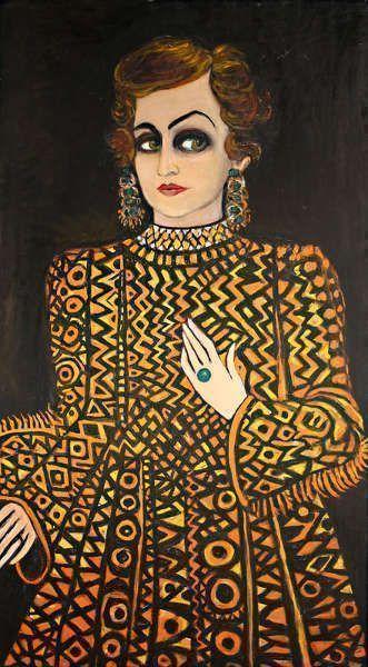 Fahrelnissa Zeid, Jemand aus der Vergangenheit, 1980, Öl/Lw, 210 x 116 cm (Raad Zeid Al-Hussein Collection)