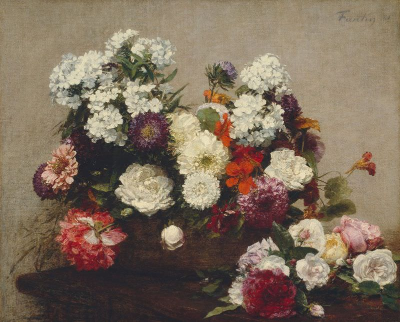 Henri Fantin-Latour, Stillleben mit Blumen, 1881, Öl auf Leinwand, 48.2 x 59.7 cm (The Art Institute, Chicago, Gift of Mary and Leigh Block, 1988.260)