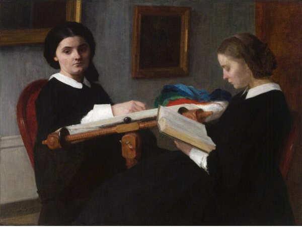 Henri Fantin-Latour, Die zwei Schwestern, 1859, Öl auf Leinwand, 98.4 x 130.5 cm (Saint Louis Art Museum, Museum Purchase, Inv. 8:1937)