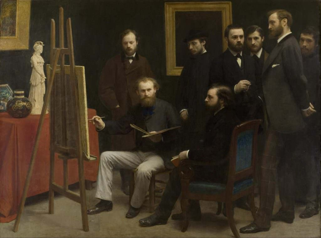 Henri Fantin-Latour, Un atelier aux Batignolles [Ein Atelier in Batignolles], 1870, Öl auf Leinwand, 204 x 273,5 cm (Paris, Musée d'Orsay, Inv. RF 729 (FL 409))