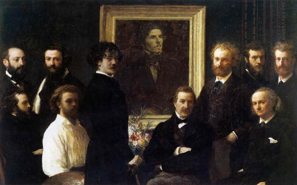 Henri Fantin-Latour, Hommage à Delacroix [Hommage an Delacroix], 1864, Öl auf Leinwand, 160 x 250 cm (Paris, Musée d'Orsay, Inv. RF 1664 (FL 227))