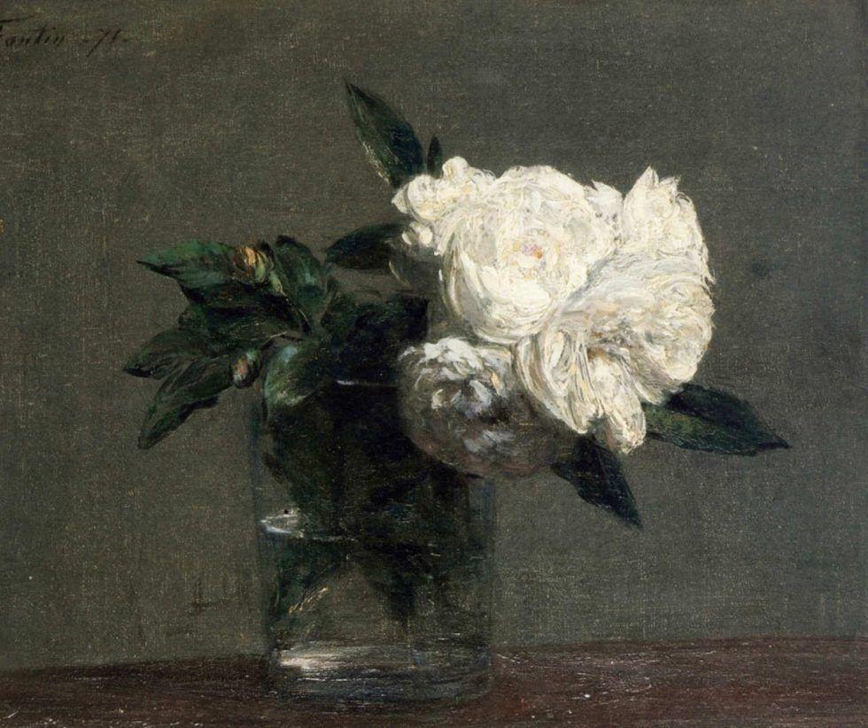 Henri Fantin-Latour, Rosen, 1871, Öl auf Leinwand, 21,6 x 22,5 cm (Privatsammlung)