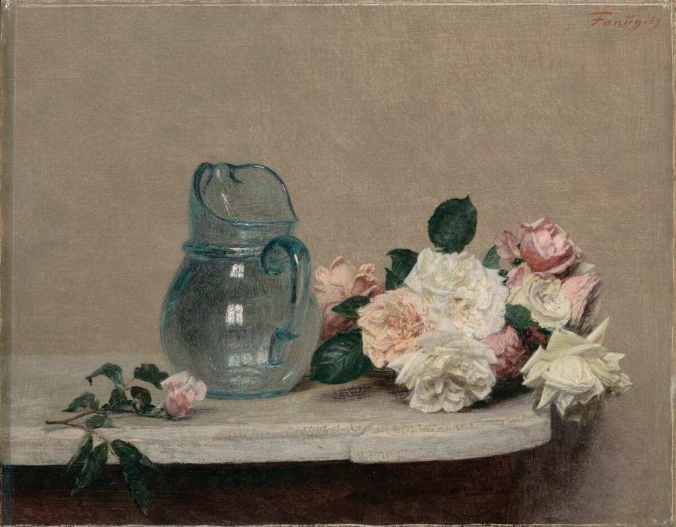 Henri Fantin-Latour, Rosen, 1889, Öl auf Leinwand, 44 x 56 cm (Lyon, Musée des Beaux-Arts © musée des Beaux-Arts de Lyon / Photo Alain Basset)