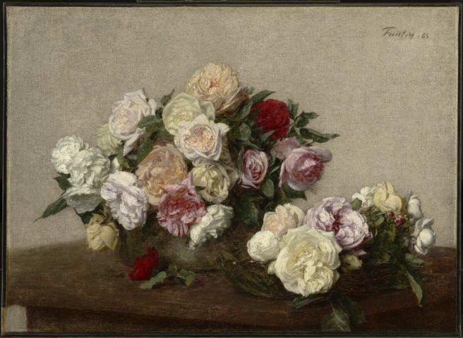 Henri Fantin-Latour, Rosen in einer Schale auf einem Tisch, 1885, Öl auf Leinwand, 45.9 x 63 cm (Sterling and Francine Clark Art Institute, erworben 1936, Inv.-Nr. 1955.734)