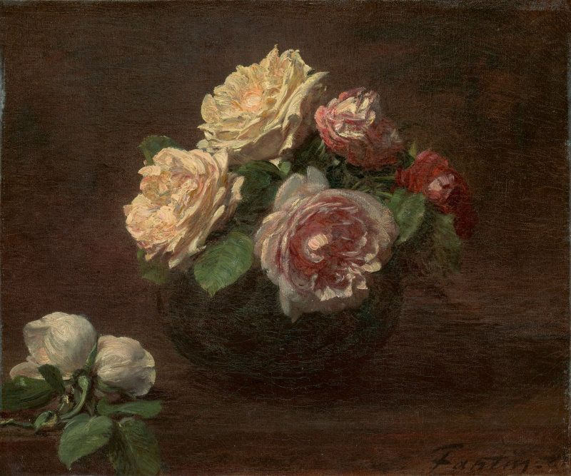 Henri Fantin-Latour, Rosen in einer Schale, 1881, Öl auf Leinwand, 26.2 x 31.4 cm (The Art Institute, Chicago, Gift of Mrs. Clive Runnells, 1964.203)