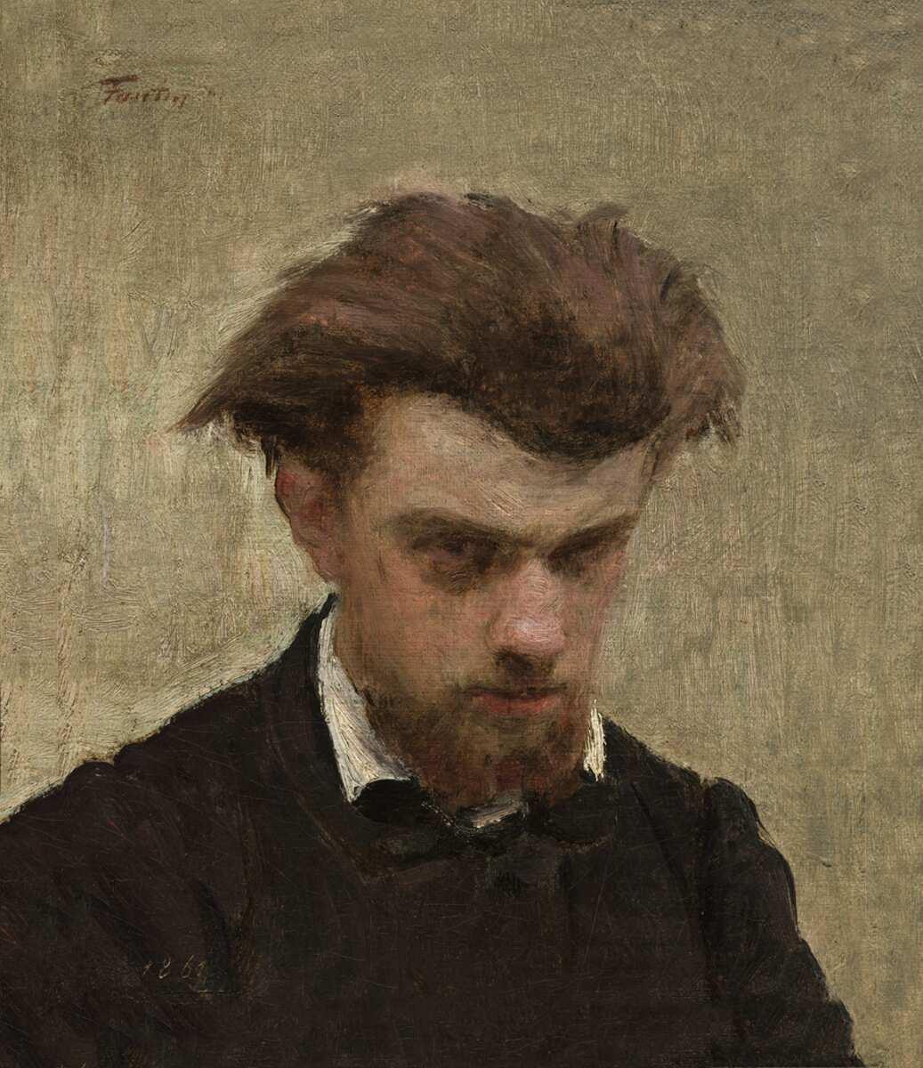 Henri Fantin-Latour, Selbstporträt mit leicht gesenktem Kopf, 1861, Öl auf Leinwand, 25,1 x 21,4 cm (Washington, National Gallery of Art Courtesy National Gallery of Art, Washington)