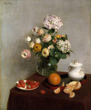 Henri Fantin-Latour, Fleurs d'été et fruits [Sommerblumen und Früchte], 1866 Öl auf Leinwand, 73 x 59,7 cm Etats-Unis, The Toledo Museum of Art © The Toledo Museum of Art)