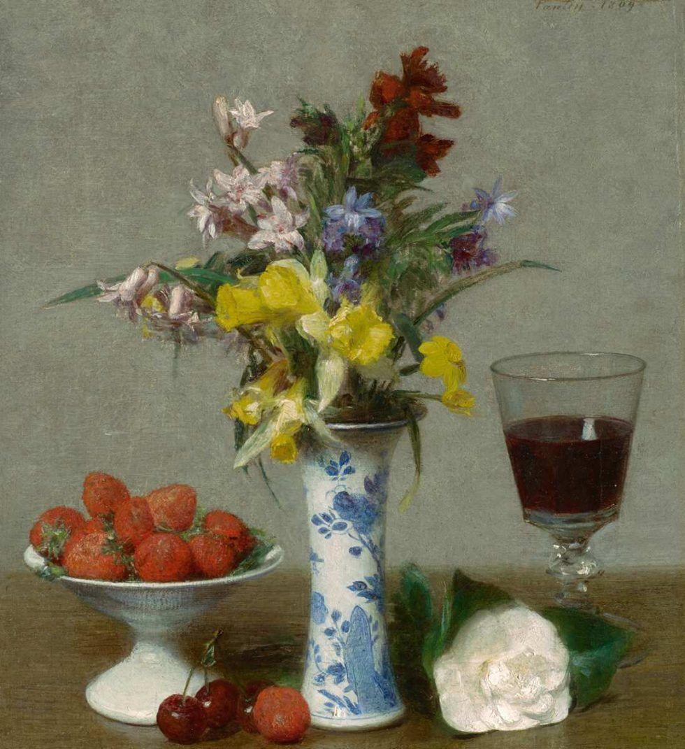 """Henri Fantin-Latour, Nature morte dite « de fiançailles » [Stillleben, genannt """"zur Verlobung]"""", 1869, Öl auf Leinwand, 32,8 x 30,4 cm (Grenoble, Musée de Grenoble © Musée de Grenoble)"""