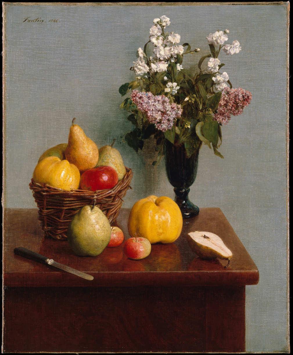 Henri Fantin-Latour, Stillleben mit Blumen und Früchten, 1866, Öl auf Leinwand, 73 x 60 cm (Metropolitan Museum of Art, New York, Purchase, Mr. and Mrs. Richard J. Bernhard Gift, by exchange, 1980)