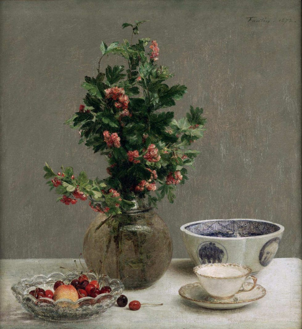 Henri Fantin-Latour, Nature morte à l'aubépine et bol japonais [Stillleben mit Weißdorn und japanischer Schale], 1872, Öl auf Leinwand, 59,6 x 55,2 cm (Dallas, Dallas Museum of Art, Inv. 2001.5.FA (FL 610) Foundation for the Arts Collection, Mrs. John B. O'Hara Fund and Gift of Mrs. Bruno Graf by exchange)