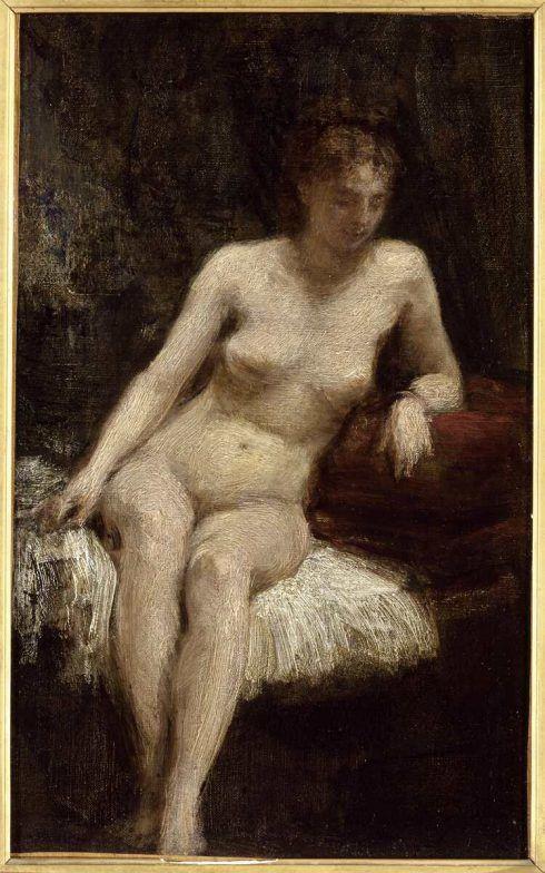 Henri Fantin-Latour, Etude de femme nue [Studie weiblicher Akt], 1872, Öl auf Leinwand, 44,5 x 27 cm (Paris, Musée d'Orsay © Rmn-Grand Palais (Musée d'Orsay) / Photo Hervé Lewandowski)