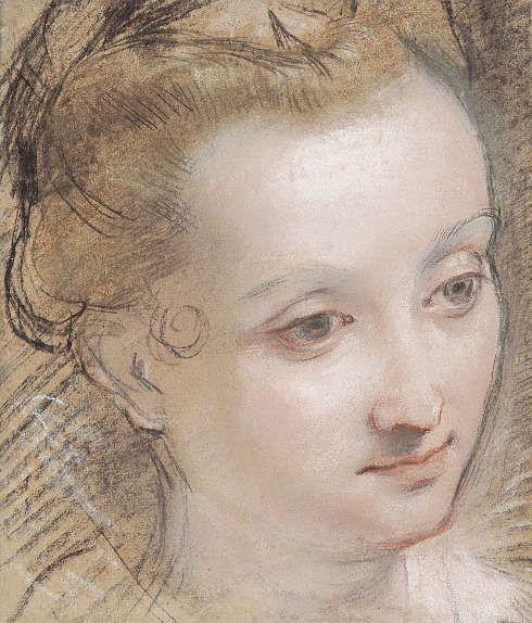 Federico Barocci, Kopf einer jungen Frau, 1585–1590, Kohle, Rötel und Pastell, 25,5 x 21,8 cm (Privatsammlung, Foto Patrick Goetelen, Genf)