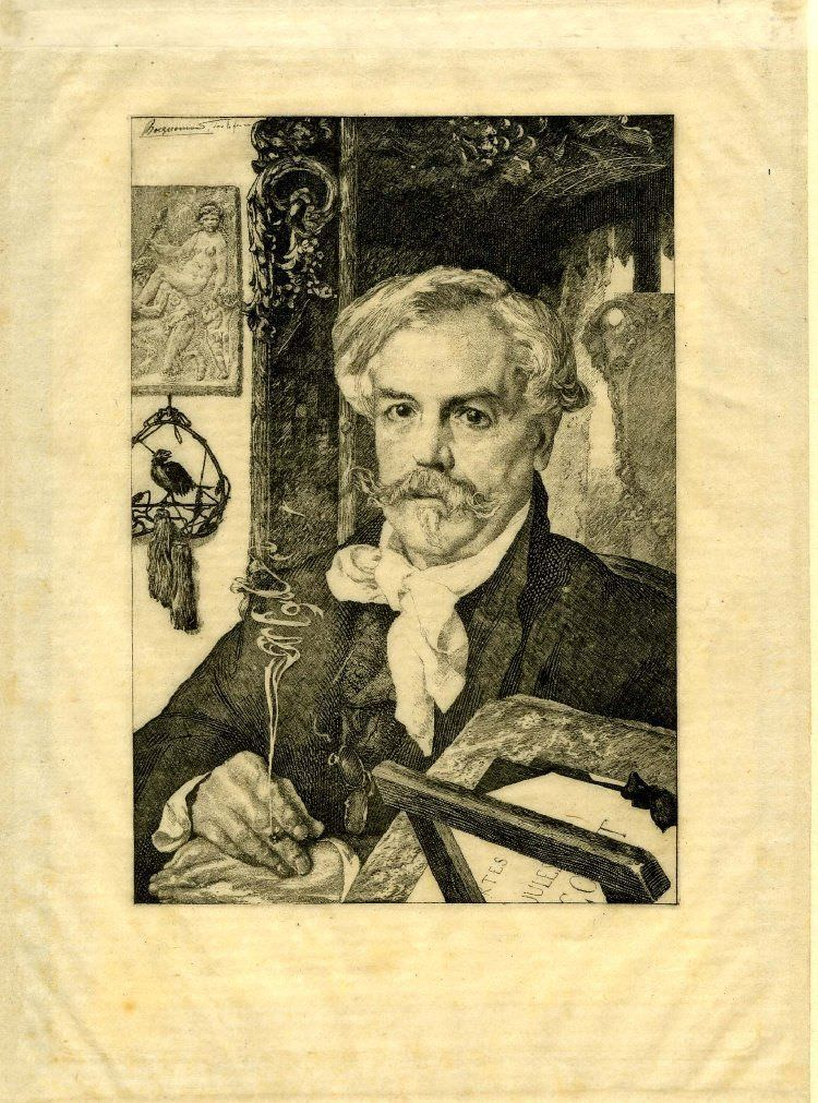 Félix Bracquemond, Portrait de M. Ed. De Goncourt [Porträt von Edmond De Goncourt], 1882, Radierung, 46 x 32 cm (The Art Institute of Chicago, Joseph Brooks Fair Endowment, 1929.253)