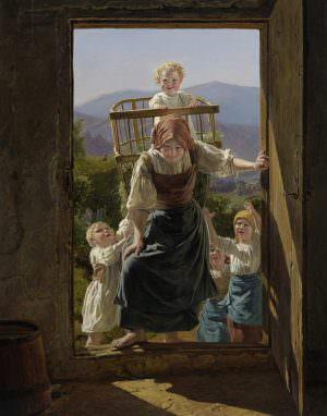 Ferdinand Georg Waldmüller, Heimkehrende Mutter mit Kindern, 1863, Öl auf Holz, 53 × 41,7 cm (Leopold Museum, Wien)