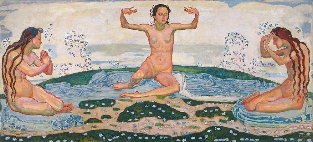 Ferdinand Hodler, Der Tag, um 1901 (vor 1910 überarbeitet), Öl/Lw, 169,5 × 366,5 cm (© Kunstmuseum Luzern, Depositum der Bernhard Eglin-Stiftung, Foto: Andri Stalder, Luzern)